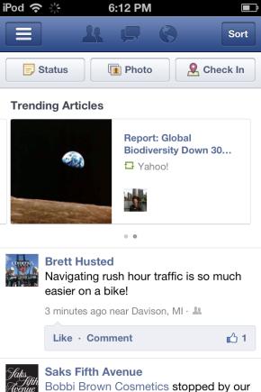 Facebook iPhone App iOS Trending Articles Bryan Nagy