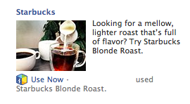 Starbucks used Facebook ads to promote its app.