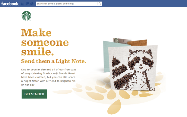 Starbuck's Facebook app provided coupons and e-cards.