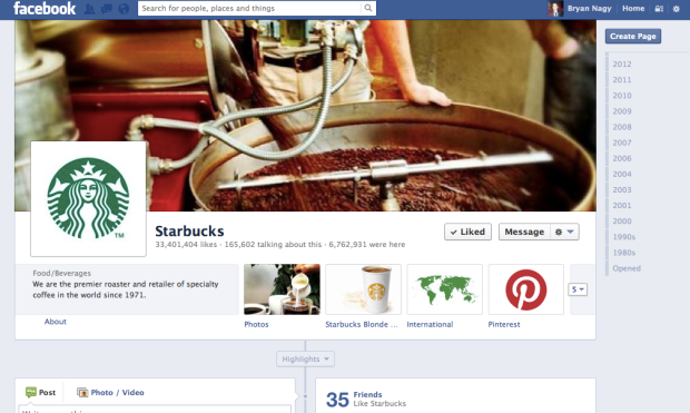 Starbucks' Blonde Roast app was given a key location on its Facebook page.