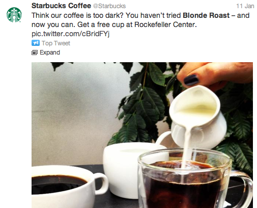 Starbucks targeted its tweets.