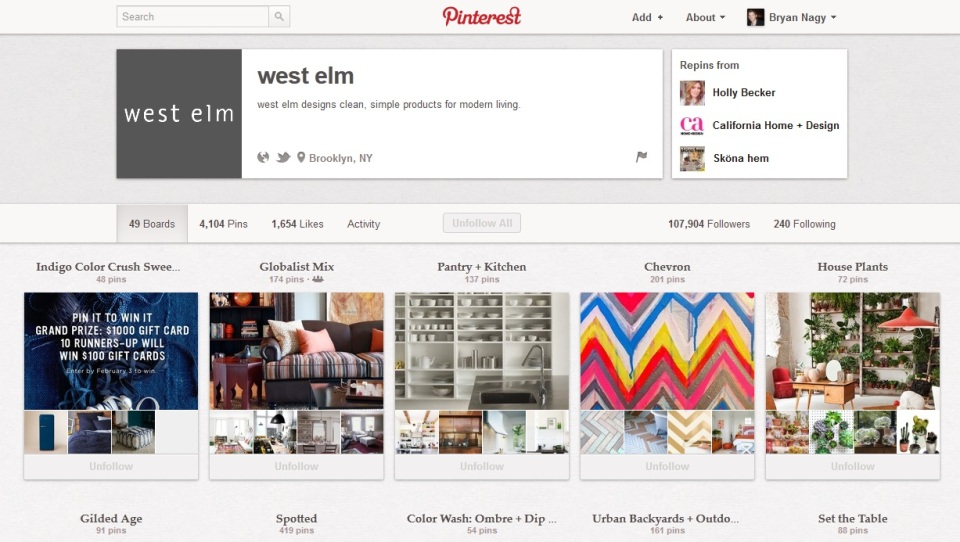 west elm pinterest contest Bryan Nagy Pinterest Page