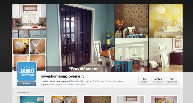 Lowes' Instagram page clearly display the week's #ProudMoment winner.