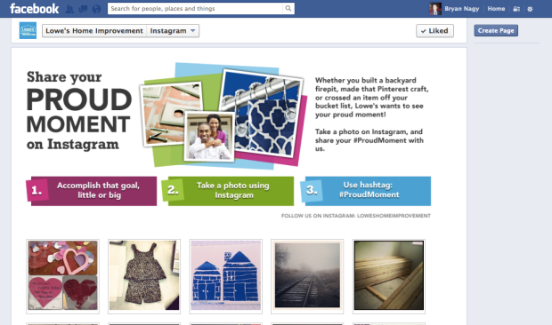 Lowe's promoted their #ProudMoment Instagram contest on Facebook.