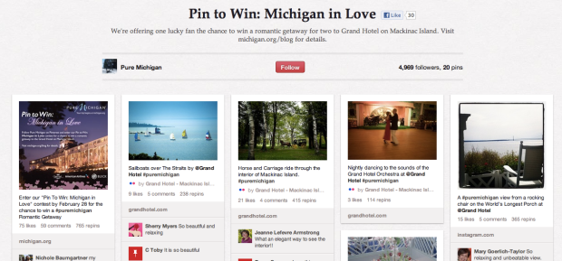 Pure Michigan's contest board features pins displaying Michigan's landmarks.