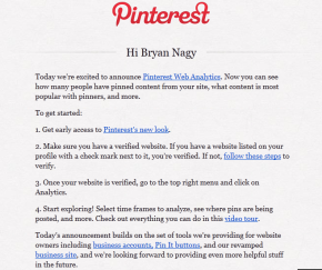 Pinterest analytics Bryan Nagy email