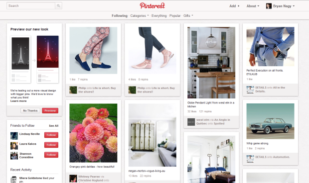 Pinterest Site Redesign Old Look Bryan Nagy