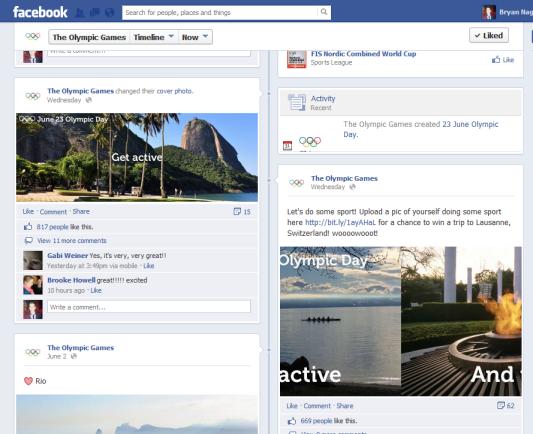 Olympics Marketing Campaign  Facebook Page Bryan Nagy