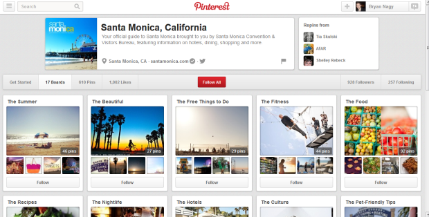 The Santa Monica Pinterest page
