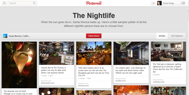 The Santa Monica, California Pinterest page explores the city's nightlife.