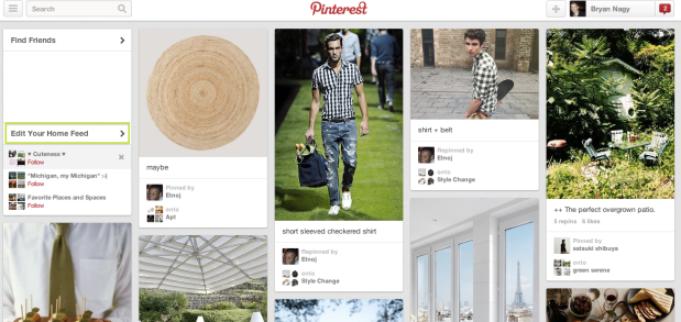 Pinterest now offers users the option to easily edit what appears in their home feed - Bryan Nagy