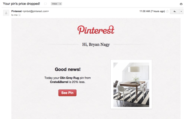 Pinterest is now emailing users about products they've pinned that are now on sale.