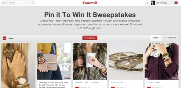 The Timex Pin to Win Pinterest board