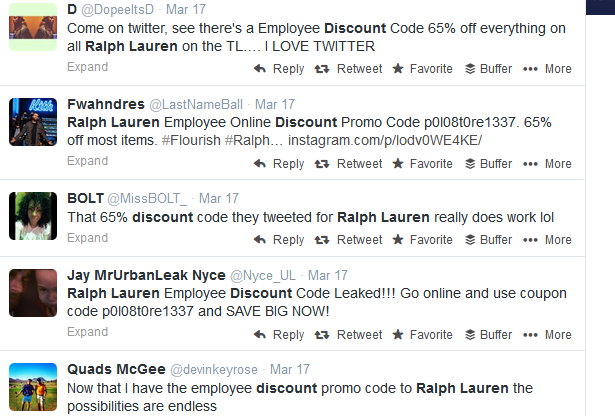 The Ralph Lauren Discount Code went viral on Twitter.